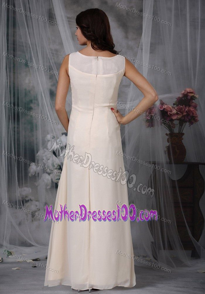 Scoop Neck Floor-length Champagne Mother of Bride Dresses