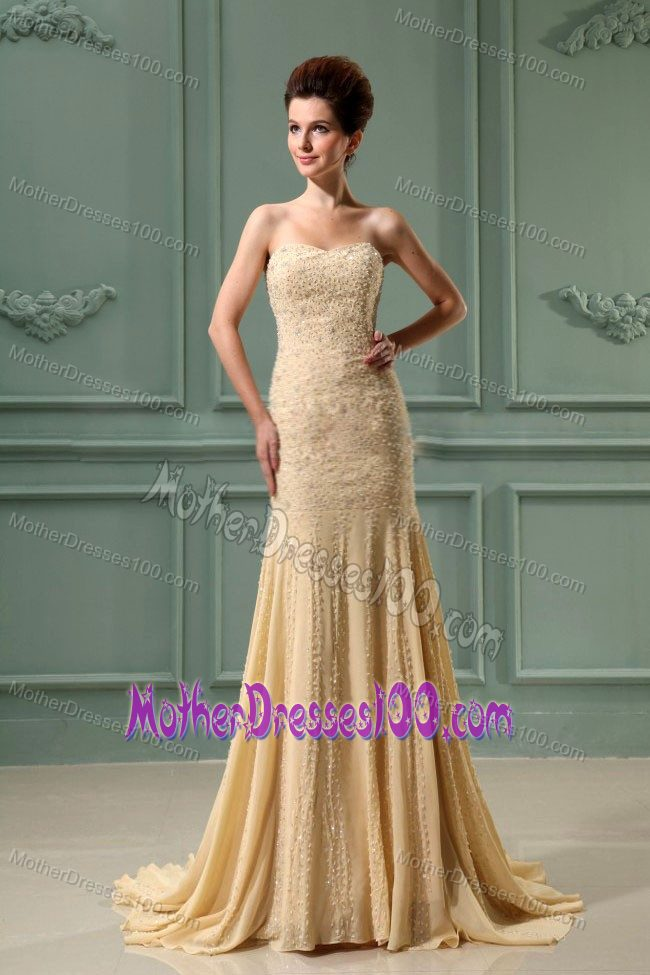 New Style Court Train Beaded Champagne Mother of Bride Dress