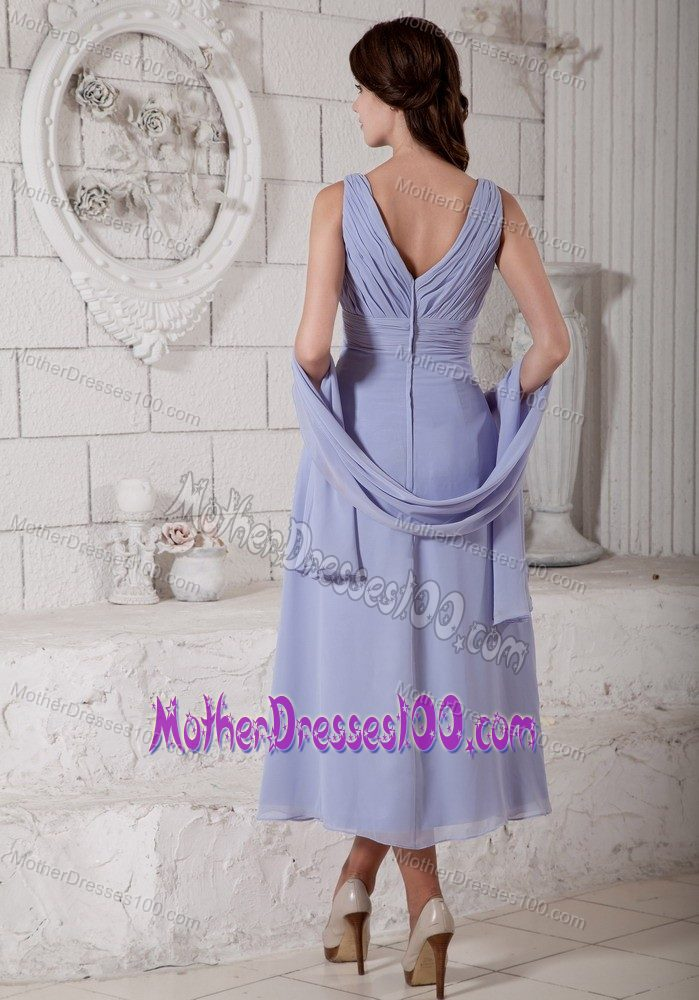 New Empire V-neck Tea-length Dresses for Bride Mother in Lilac