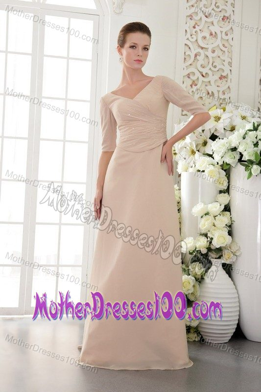 Champagne V-neck Half Sleeves Mother of the Bride Dress Hot Sale