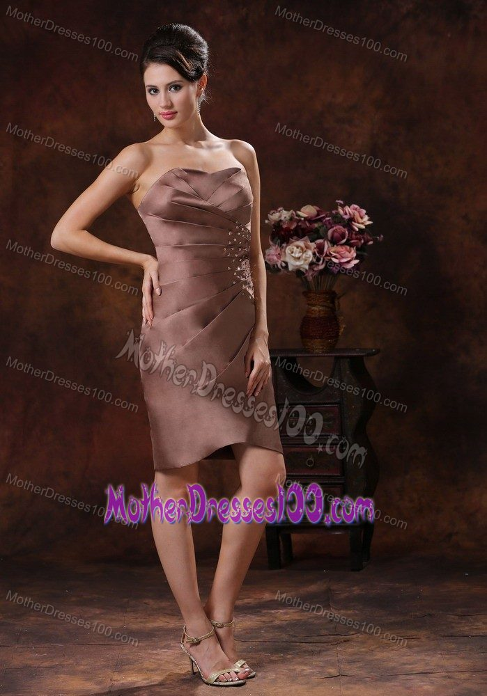 Mini-length Beading Ruched Brown Mother of the Groom Dresses