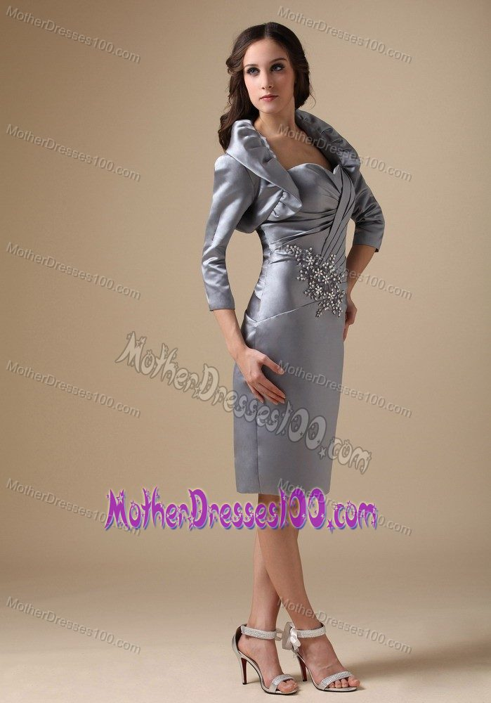 Sweetheart Knee-length Beaded Mother of Bride Dresses in Gray