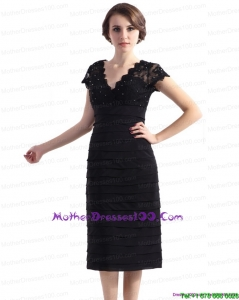 2015 Cap Sleeves Black Young Mothers Dresses with Beading and Ruching