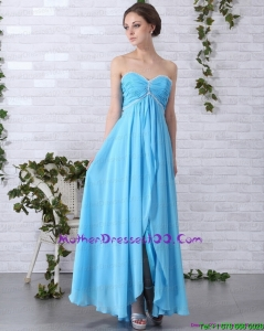 2015 Gorgeous Long Young Mothers Dresses with Ruching and Beading