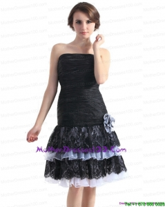Black Short Plus Size Mothers Dresses with Ruching and Hand Made Flower