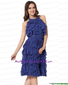 Halter Top Ruffled Knee Length Young Mothers Dresses with Criss Cross
