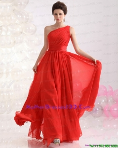 New Style Ruching Red One Shoulder Plus Size Mothers Dresses for 2015