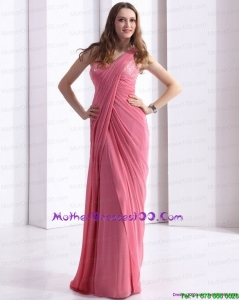 One Shoulder Coral Red Plus Size Mothers Dresses with Appliques and Ruching