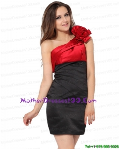 One Shoulder Ruching and Hand Made Flowers Young Mothers Dresses in Red and Black