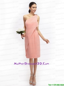 Ruching and Hand Made Flowers 2015 Pink Plus Size Mothers Dresses with One Shoulder