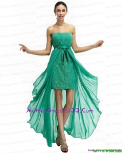 Turquoise High Low Beading Young Mothers Dresses with Ruching and Bownot