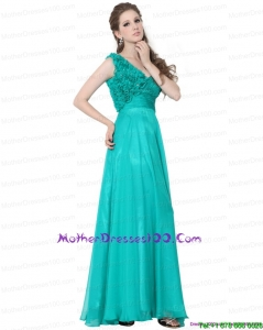 Turquoise One Shoulder Young Mothers Dresses with Ruching and Hand Made Flowers