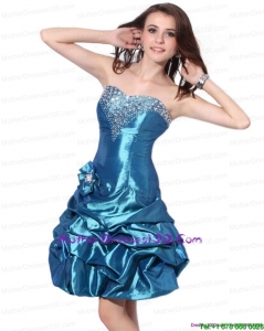 Beading Strapless Short Style Mother Dresses with Pick Ups and Hand Made Flower