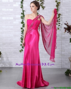 Elegant 2015 One Shoulder Fuchsia Plus Size Mothers Dresses with Beading and Ruching