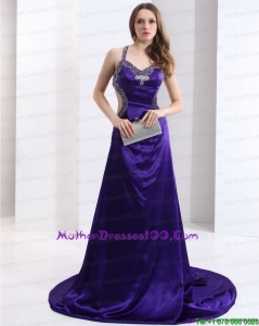 Luxurious 2015 Halter Top Purple Criss Cross Young Mothers Dresses with Court Train