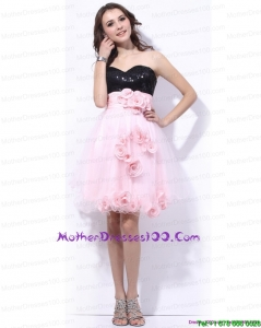 Sweetheart Sequins and Hand Made Flowers Young Mothers Dresses in Pink and Black