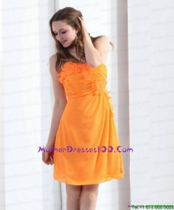 v2015 Gorgeous Strapless Orange Plus Size Mothers Dresses with Hand Made Flowers and Ruching