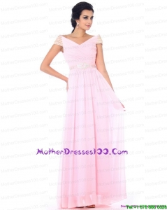 2015 Perfect Off the Shoulder Beading Young Mothers Dresses in Baby Pink