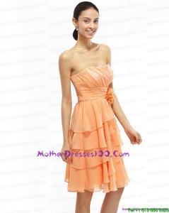 2015 Strapless Short Prom Dresses with Ruching and Hand Made Flower