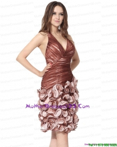 Multi Color Halter Top Prom Dresses with Ruching and Hand Made Flowers