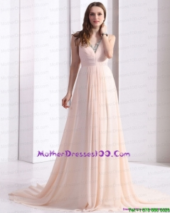 2015 Brush Train Long Mother of Bride Dresses with Beading and Ruching