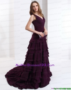 Long V Neck Mother of Bride Dresses in Dark Purple for 2015