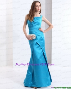 One Shoulder Baby Blue Long Mother of Bride Dresses with Brush Train