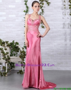 Rose Pink Long Mother of Bride Dresses with Brush Train