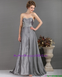 Brush Train Sliver Mother of the Bride Dresses with Appliques and High Slip