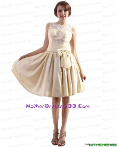 Elegant High Neck Mother of the Bride Dresses with Ruching and Bownot