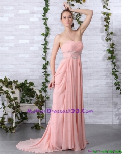2015 Cheap Brush Train Sweetheart Mother of the Bride Dress in Peach