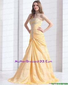 Brush Train Gold Mother of the BrideDresses with Ruching and Beading
