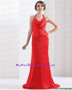 Remarkable Backless Halter Top Mother of the Bride Dress in Coral Red