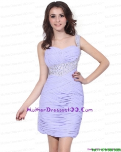 2015 Exclusive Lilac Mini Length Mother of the Bride Dress with Rhinestones and Ruching