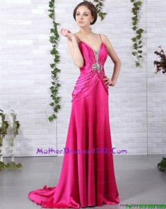 Exquisite Brush Train 2015 2015 Mother of the Bride Dress with Ruching and Beading