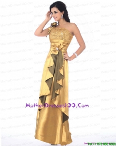 Gorgeous One Shoulder Gold Mother of the Bride Dress with Hand Made Flowers and Ruching