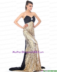 Luxurious Brush Train 2015 Mother of the Bride Dress with Ruching and Sequins