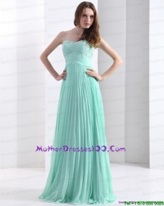 2015 Brush Train Apple Green Mother of the Bride Dress with Beading and Pleats