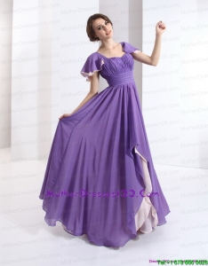 2015 Gorgeous Mother of the Bride Dress with Ruching and Cap Sleeves