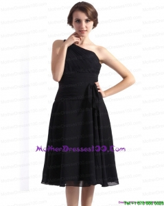 2015 One Shoulder Knee Length Mother of the Bride Dress in Black