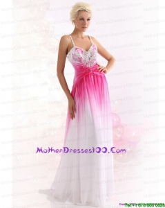 2015 Romantic Spaghetti Straps Brush Train Mother of the Bride Dress with Paillettes