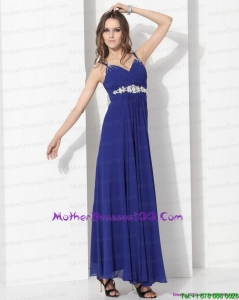 2015 Wonderful Ankle Length Blue Mother of the Bride Dress with Beading