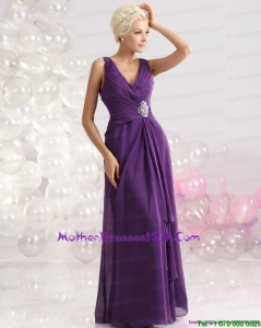 Elegant V Neck Floor Length Mother of the Bride Dress with Beading and Ruching