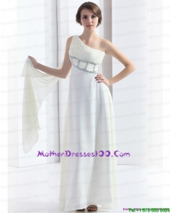 2015 New Style One Shoulder White Mother of the Bride Dress with Watteau Train and Beading