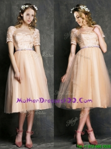 Beautiful Bateau Short Sleeves Mothers Dresses with Sashes and Lace