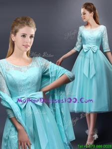 Romantic Aqua Blue Scoop Half Sleeves Mother Dresses with Bowknot
