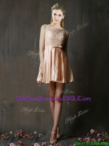 Best Selling Laced and Belted Short Mother Dresses in Peach