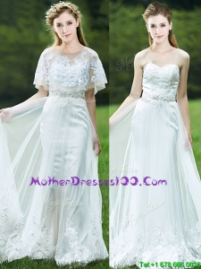 Cheap A Line Applique White Mother Dresses with Brush Train