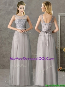 Cheap See Through Scoop Grey Long Mother of the Bride Dress with Appliques