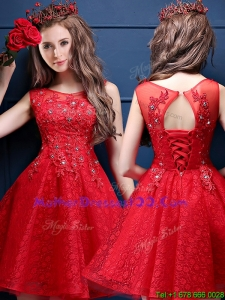 Classical Scoop Red Mother Dresses with Appliques and Beading